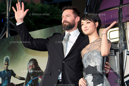 "Tokyo, Japan - (L to R) The actor Hugh Jackman and the actress Ayame Gouriki attend the ""X Men Days of Furute Past"" Japan Premier at Roppongi Hills Arena on May 27, 2014. The movie will be released on May 30th. (Photo by Rodrigo Reyes Marin/AFLO)"