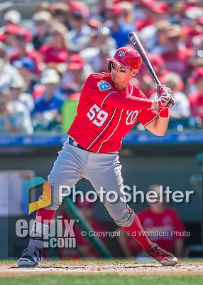6 March 2016: Washington Nationals catcher Jose Lobaton in action during a Spring Training pre-season game against the St. Louis Cardinals at Roger Dean Stadium in Jupiter, Florida. The Nationals defeated the Cardinals 5-2 in Grapefruit League play. Mandatory Credit: Ed Wolfstein Photo *** RAW (NEF) Image File Available ***
