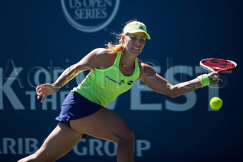 09.08.2015. Stanford, California, USA.  Angelique Kerber (GER) in action during the finals of the Bank of the West Classic at Stanford University's Taube Family Tennis Center in Stanford, Calif. Kerber, seeded 5th in the tournament, defeated Karolina Pliskova (CZE), who was seeded 4th, to become the 2015 Bank of the West Classic Champion.