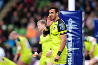 Peter Betham of Leicester Tigers has a word with his team-mates. Anglo-Welsh Cup Final, between Exeter Chiefs and Leicester Tigers on March 19, 2017 at the Twickenham Stoop in London, England. Photo by: Patrick Khachfe / JMP