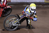 Heat 2: Lewis Rose (yellow) falls - Lakeside Young Hammers vs Kings Lynn Lightning, Anglian Junior League Speedway at the Arena Essex Raceway, Pufleet - 22/06/12 - MANDATORY CREDIT: Rob Newell/TGSPHOTO - Self billing applies where appropriate - 0845 094 6026 - contact@tgsphoto.co.uk - NO UNPAID USE..