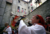 Gubbio 15 MAY 2006..Festival of the Ceri..The party before the run. The trumpeter....http://www.ceri.it/ceri_eng/index.htm..