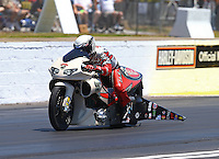 May 14, 2016; Commerce, GA, USA; NHRA pro stock motorcycle rider Scotty Pollacheck  during qualifying for the Southern Nationals at Atlanta Dragway. Mandatory Credit: Mark J. Rebilas-USA TODAY Sports