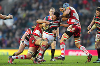 Ellis Genge of Leicester Tigers takes on the Gloucester Rugby defence. Aviva Premiership match, between Leicester Tigers and Gloucester Rugby on February 11, 2017 at Welford Road in Leicester, England. Photo by: Patrick Khachfe / JMP