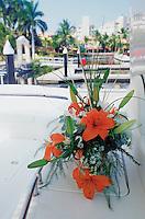 A flowerr arangemet on a Sea Ray yacht in Ixtapa Zihuatanejo,  Mexico 5-19-05