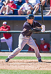 11 March 2014: New York Yankees infielder Dean Anna in action during a Spring Training game against the Washington Nationals at Space Coast Stadium in Viera, Florida. The Nationals defeated the Yankees 3-2 in Grapefruit League play. Mandatory Credit: Ed Wolfstein Photo *** RAW (NEF) Image File Available ***