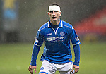 Partick Thistle v St Johnstone....14.12.13    SPFL<br /> Gary McDonald all bandaged up after a clash of heads left him with a cut above the eye<br /> Picture by Graeme Hart.<br /> Copyright Perthshire Picture Agency<br /> Tel: 01738 623350  Mobile: 07990 594431