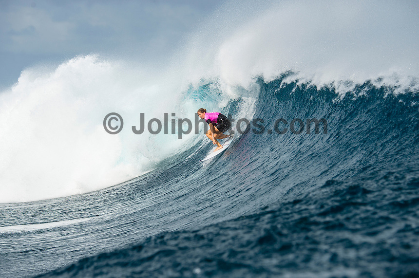 Namotu Island Resort, Namotu, Fiji. (Tuesday May 27, 2014) Stephanie Gilmore (AUS) –  The Fiji Women's Pro, Stop No. 5 of 10 on the 2014  Women's World Championship Tour (WCT) was called on today  at Cloudbreak in a ring 4'-6' south swell.  The South East Trades, which are side offshore at Cloudbreak increased with the growing swell and made conditions difficult by mid afternoon. All of Rounds 1 & 2 were completed with Malia Manual (HAW) registering the day's highest score with powerful forehand surfing. The event has attracted the world's best female surfers to the world-class waves of Cloudbreak and Restaurants for the recommencement of this season's battle for the world surfing crown. Photo: joliphotos.com