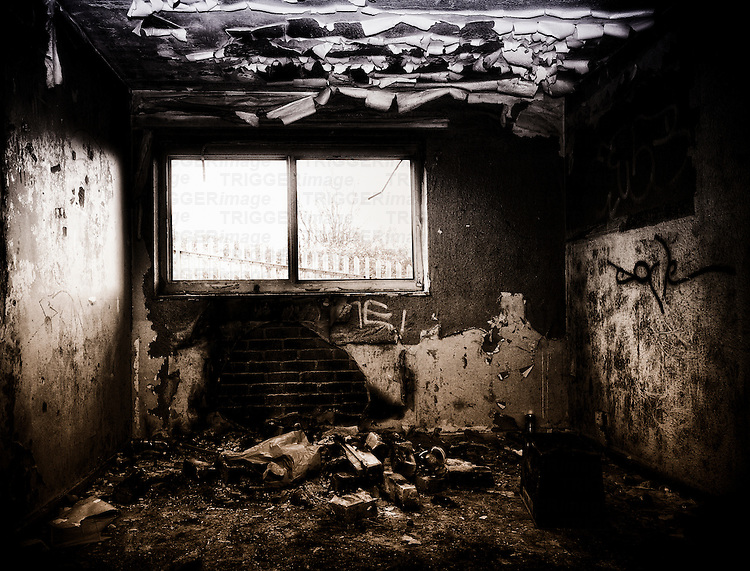 Burnt out room in a derelict building