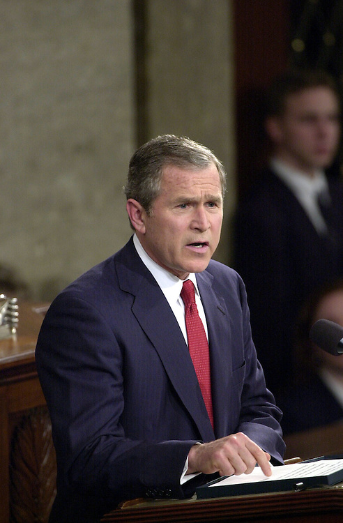 9joint022701 -- President George W. Bush makes his address to the Joint Session of Congress.