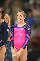 Oct 19, 2006; Aarhus, Denmark; Portrait is of  Hollie Dykes of Australia (7th)  during women's gymnastics ALL-Around medals ceremony at 2006 World Championships Artistic Gymnastics. Photo by Tom Theobald