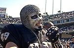 "Raider fan from Los Angeles, Dave Moss, goes by the name ""War Lord"" -- on Sunday, September 14, 2003, in Oakland, California. The Raiders defeated the Bengals 23-20.  ..."
