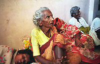 A frightened old lady in a shelter in Nagapattinam.India.