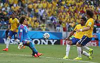 Man of The Match Mexican Goalkeeper Guillermo Ochoa saves from Paulinho