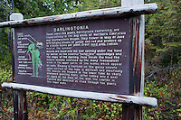 An Oregon State Parks Department sign describing the carnivorous plant, Darlingtonia californica.