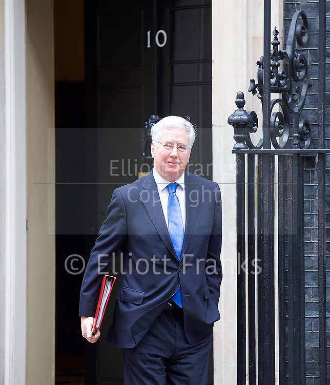 Cabinet Meeting <br /> 10 Downing Street London, Great Britain <br /> 29th March 2017 <br /> <br /> departures following the final cabinet meeting before Article 50 is triggered in Parliament today.<br /> <br /> <br /> Michael Fallon MP <br /> Defence Minister <br /> <br /> Photograph by Elliott Franks <br /> Image licensed to Elliott Franks Photography Services