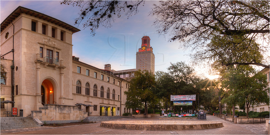 Early in the morning, this is the scene of West Mall from the University of Texas campus. The UT Tower still glows orange from the previous night's football win. I think most students were still asleep!