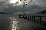 Pier under stormy clouds on ake Léman, Vevay, close to Montreux,Lausanne, Switzerland.