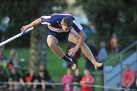 FIERLJEPPEN: IT HEIDENSKIP: 14-08-2013, 1e Klas wedstrijd, Senioren Topklasse, Oane Galama, ©foto Martin de Jong