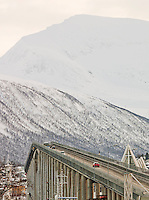 The Tromso Bridge, connecting the city of Tromso which sits on an island, to the mainland, over the Tromso Straights. Tromso, Norway