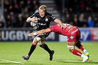 Jackson Wray of Saracens takes on the Scarlets defence. European Rugby Champions Cup match, between Saracens and the Scarlets on October 22, 2016 at Allianz Park in London, England. Photo by: Patrick Khachfe / JMP