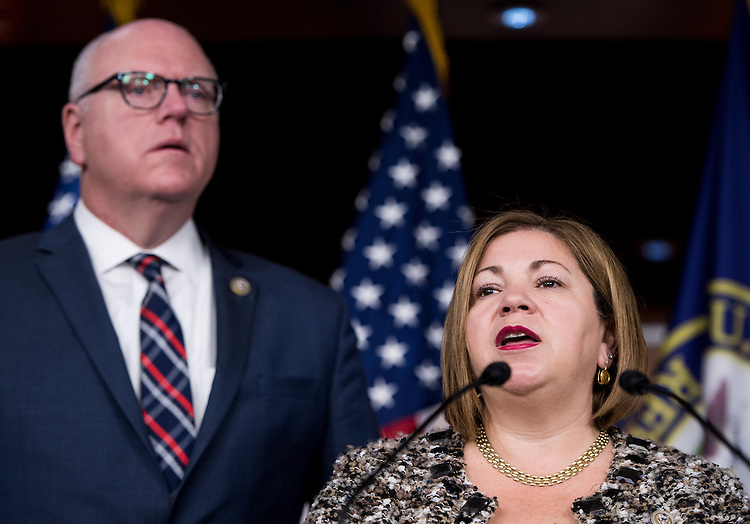 UNITED STATES - FEBRUARY 28: House Democratic Caucus Vice Chairwoman Linda Sanchez, D-Calif., speaks as House Democratic Caucus Chairman Joseph Crowley, D-N.Y., listens during the House Democrats' news conference in advance of President Trump's address to Congress on Tuesday, Feb. 28, 2017. (Photo By Bill Clark/CQ Roll Call)