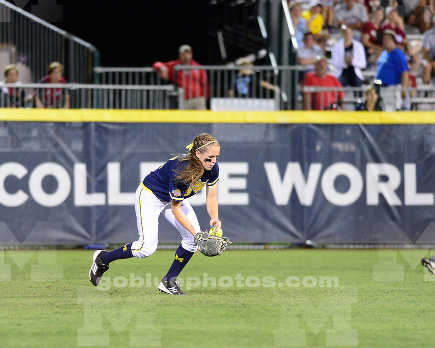 The University of Michigan softball team lost to No. 1 Oklahoma, 7-1, in their opener at the Women's College World Series at ASA Hall of Fame Stadium in Oklahoma City, Okla., on May 30, 2013.