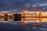 &quot;Rhapsody in Blue II&quot;<br /> The Aerial Lift Bridge is enveloped in the blues of twilight on a winter morning.