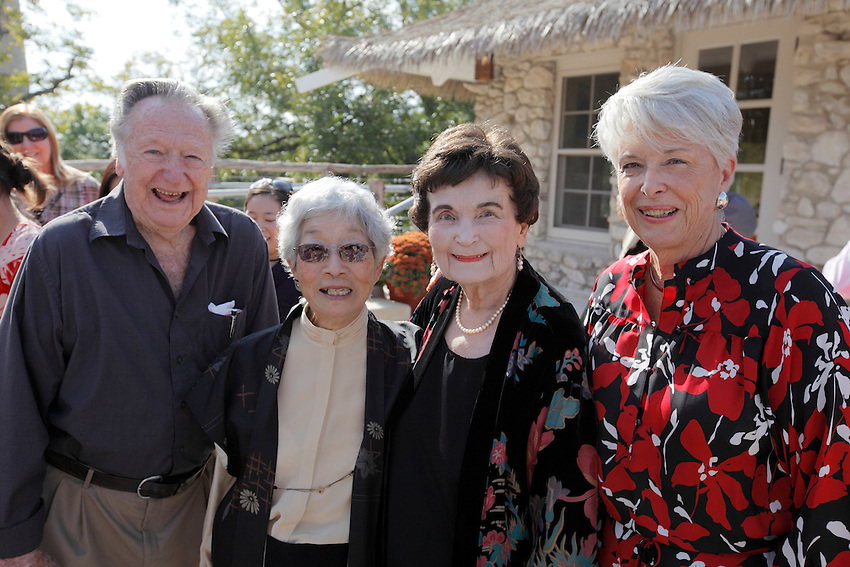 San Antonio Mayor Emeritus and president of the San Antonio Parks Foundation Lila Cockrell, center, poses with Mabel Jingu Enkoji, left, and former San Antonio city councilwoman Bonnie Conner to celebrate the grand re-opening of the Jingu House, Saturday, Oct. 22, 2011, at the Japanese Tea Garden in San Antonio, Texas, USA. (Darren Abate/pressphotointl.com)