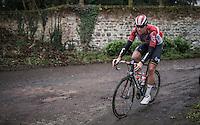 Frederik Frison (BEL/Lotto-Soudal) on the Chemin de Wih&eacute;ries cobble section (Honelles)<br /> <br /> GP Le Samyn 2017 (1.1)