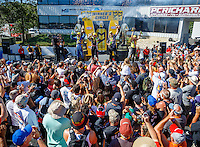 Jun 12, 2016; Englishtown, NJ, USA; (From left) NHRA funny car winner Ron Capps , top fuel winner Steve Torrence , pro stock winner Greg Anderson and pro stock motorcycle winner Angelle Sampey celebrate in front of the fans after winning the Summernationals at Old Bridge Township Raceway Park. Mandatory Credit: Mark J. Rebilas-USA TODAY Sports