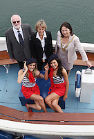 ****NO FEE PIC****.(L to R) Back row.Harbourmaster Simon Coate.Her Excellency Emmanuelle D'Achon French Ambassador to Ireland.An Cathaoirleach of DLR, Cllr. Lettie McCarthy.(L to R) Front Row.French Mademoiselles Suzanne McCabe & Sinead Noonan.at the National Yacht Club Dun Laoghaire to launch Festival Des Bateaux which takes place between August 11th and 14th 2011 .Dun Laoghaire will be the only international stop on the world famous French Solitaire du Figaro yacht race.  To celebrate the stopover of this iconic 3,390 km race, Dun Laoghaire Rathdown County Council, the Dun Laoghaire Harbour Company and the National Yacht Club have joined forces to create Festival des Bateaux.  The harbour will be a magnificent tapestry of colour as the boats arrive for this international event.  Dun Laoghaire will be resplendent with fireworks, music and the sights, sounds, foods, and 'joie de vivre' of France..Photo: Gareth Chaney Collins