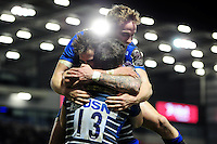 Sam James of Sale Sharks celebrates his second half try with team-mates. European Rugby Challenge Cup quarter final, between Sale Sharks and Montpellier on April 8, 2016 at the AJ Bell Stadium in Manchester, England. Photo by: Patrick Khachfe / JMP