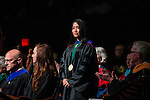 Russ College of Engineering Professor Gerri Botte is recognized with the 2015 Distinguished Professor Award during the Graduate Commencement ceremony on Friday, May 1, 2015.  Photo by Ohio University  /  Rob Hardin