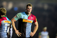 George Merrick of Harlequins looks on during a break in play. Aviva Premiership match, between Harlequins and Bath Rugby on March 11, 2016 at the Twickenham Stoop in London, England. Photo by: Patrick Khachfe / Onside Images