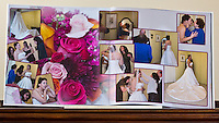 """Actual photograph of two of the pages of the 12"""" wedding album. We do all our printing with an Epson Professional 9 ink printer. These pages are printed on Ilford Gallerie Professional, Smooth Lustre paper. A beautiful, heavy weight paper with a smooth luster finish.  Albums can be made in almost any size up to 12"""" and any amount of pages, minimum 20 pages."""