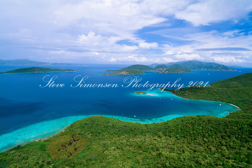 Aerial view of St John <br /> British Virgin Islands in the backround<br /> U.S. Virgin Islands