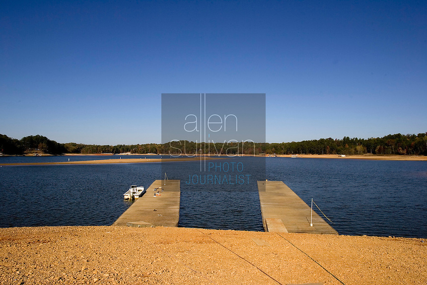 Docks relocated on a section of Lake Lanier due to falling water levels.