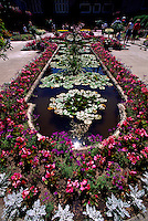 Butchart Gardens at Brentwood Bay near Victoria, BC, Vancouver Island, British Columbia, Canada - Star Pond, Summer Flowers