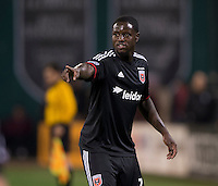 Eddie Johnson (7) of D.C. United yells to a teammate during a MLS game at RFK Stadium in Washington, DC.  D.C. United lost to the Columbus Crew, 3-0.