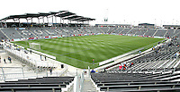 Fans start to find their seats at the new home of the Colorado Rapids. In their first game the Colorado Rapids held on to beat DC United 2-1 at Dick's Sporting Goods Park in Commerce City, Colorado on April 7 2007 before the first sellout crowd in Rapids history.