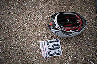 Fabio Felline's (ITA/Trek-Segafredo) helmet &amp; race number after the race<br /> <br /> 11th Strade Bianche 2017