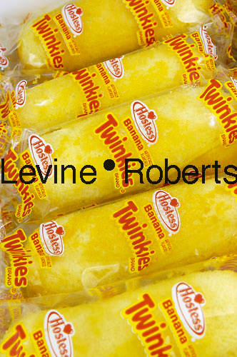 A box of banana-flavored, creme-filled, tasty Twinkies is seen on April 11, 2006. Twinkies were banana flavored until a banana shortage during World War II forced Hostess to switch to vanilla creme filling. (© Richard B. Levine)