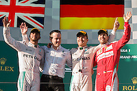 March 20, 2016: Lewis Hamilton (GBR), Nico Rosberg (DEU) from the Mercedes AMG Petronas team and Sebastian Vettel (DEU) #5 from the Scuderia Ferrari team on the podium after placing 2nd ,1st and 3rd respectively at the 2016 Australian Formula One Grand Prix at Albert Park, Melbourne, Australia. Photo Sydney Low
