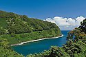 Honomanu Bay and the Hana Highway, Hana Coast, Maui, Hawaii.