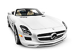 2012 Mercedes-Benz SLS AMG GT Roadster sports car isolated with clipping path on white background