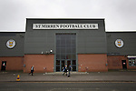 St Mirren 4 The New Saints 1, 19/02/2017. Paisley 2021 Stadium, Scottish Challenge Cup. Three young boys run past the main entrance to the Paisley2021 Stadium before Scottish Championship side St Mirren played Welsh champions The New Saints in the semi-final of the Scottish Challenge Cup for the right to meet Dundee United in the final. The competition was expanded for the 2016-17 season to include four clubs from Wales and Northern Ireland as well as Scottish Premier under-20 teams. Despite trailing at half-time, St Mirren won the match 4-1 watched by a crowd of 2044, including 75 away fans. Photo by Colin McPherson.