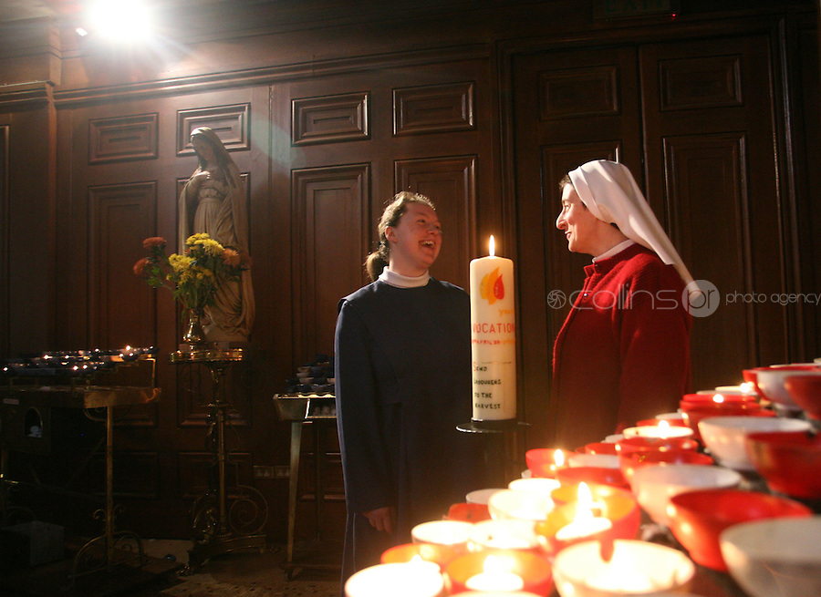 """13/04/2008.(L to R) Postulant Monica Boggan & Sister Lucy Conway at the official launch of the Catholic Church's """"Year of Vocation"""".  , at the Pro Cathedral, Dublin. .Photo: Gareth Chaney Collins."""