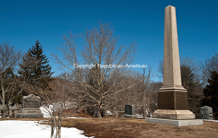 PLYMOUTH ,  CT,  CT-041115JS45- The Soldiers' Monument in Hilltop Cemetery in Terryville, lists the names of those who died while serving in the Civil War. The names became unreadable so bronze plaques were added in 1983.<br />  Jim Shannon Republican-American