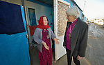 Archbishop Antje Jackelen of the Church of Sweden (right) greets Azra Said in the Ashti camp for displaced persons in Ankawa, in the Kurdistan region of northern Iraq. Said and her family, who are Christians, were displaced from their home in Qaraqosh in 2014 by the Islamic State group. Jackelen came to Iraq as part of an international ecumenical delegation organized by the World Council of Churches.